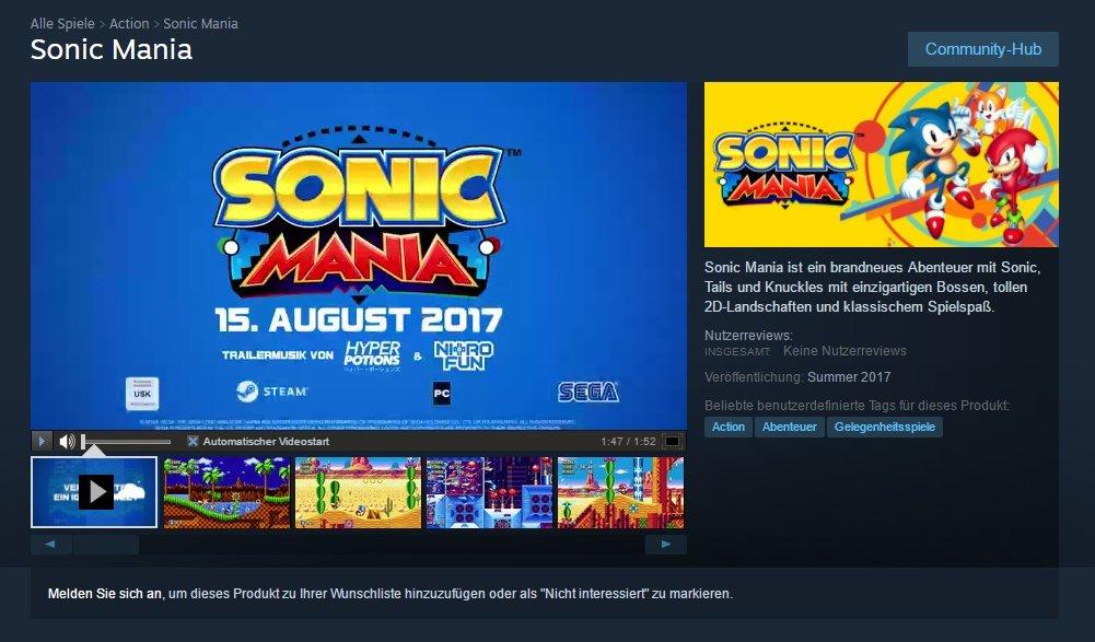 Sonic Mania llegaría el 15 de agosto según Steam
