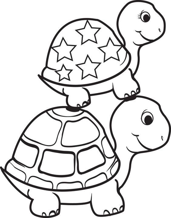 Tranh tô màu hai mẹ con rùa