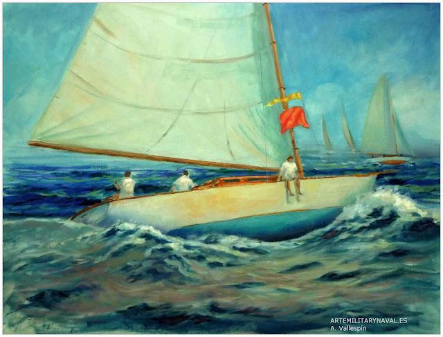 Oleo de un velero navegando con bandera roja