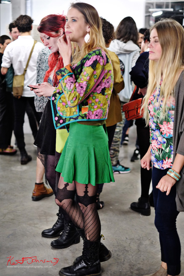Bright colours and patterns with black patterned stockings with Doc Martens boots. Spring Fashion Ambushed by Street Fashion Sydney. Photographed by Kent Johnson.