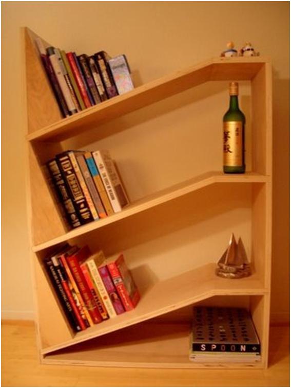 home design angled bookshelf design. Black Bedroom Furniture Sets. Home Design Ideas