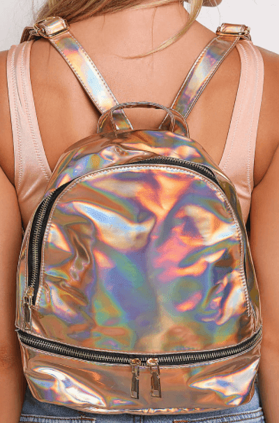 Love Culture Rose Gold Holographic Backpack