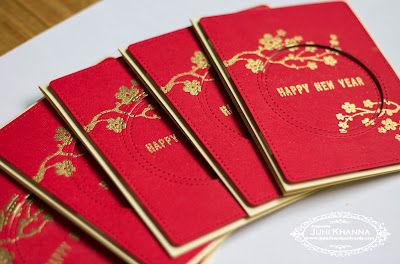 Handmade red and gold card for Chinese Lunar new year, using Inkadinkadoo stamps. Heat embossing with gold on red textured cardstock