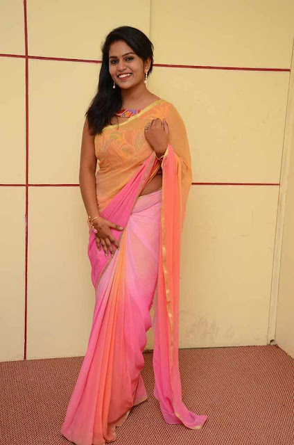 Tripura Latest Hot Cleveage Transparent Pink Traditional Saree PhotoShoot Images At Full Guarantee Movie Press Meet