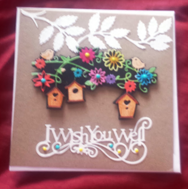 "I wish you well - birdhouse (hand coloured) - 7"" square Kraft card"