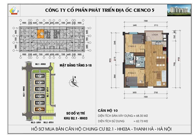 Sơ đồ thiết kế chi tiết căn hộ 10 chung cư B2.1 HH03 Thanh Hà