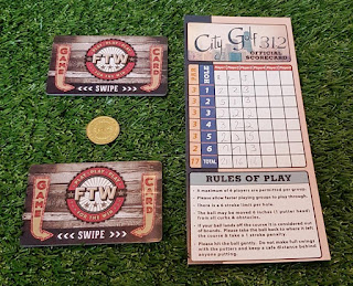 Game cards, token and scorecard from FTW Chicago