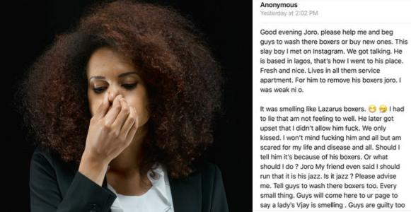 Nigerian lady shares her experience with a rich guy with smelling boxers