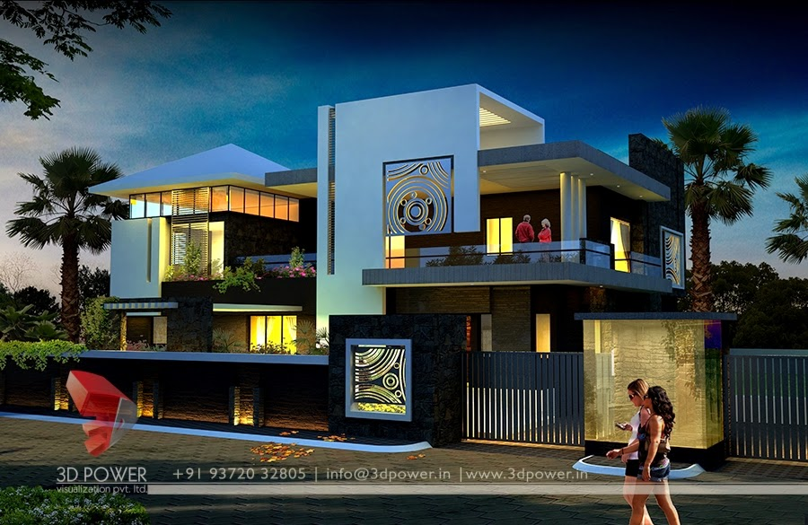 Night View Of 3D Modern Contemporary Bungalow