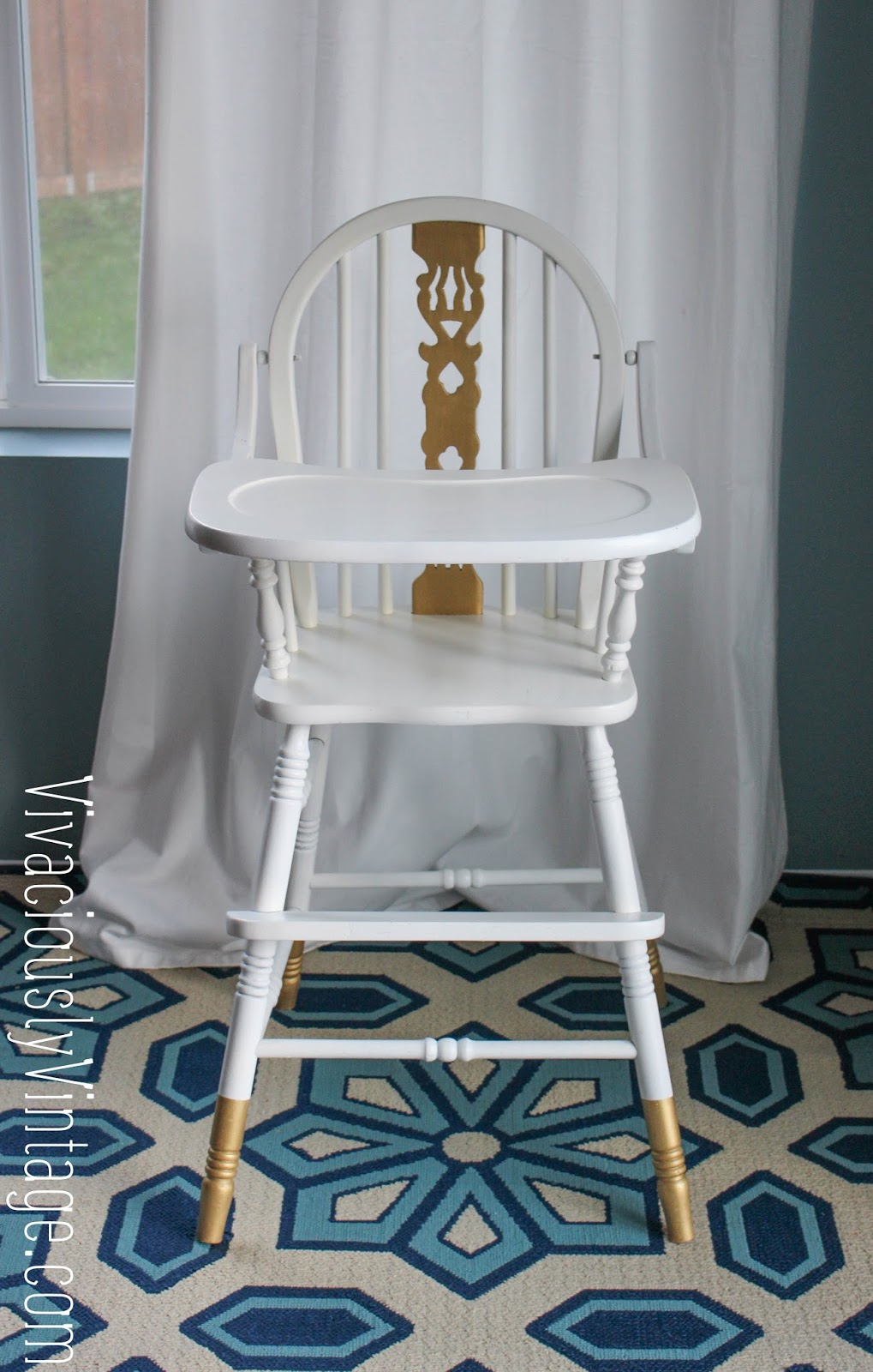 Vintage wooden high chair - Gold And White Vintage Painted Wooden High Chair