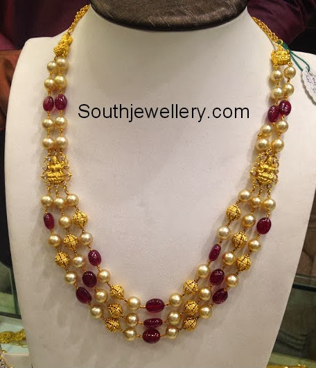 Beautiful South Indian Double Long Necklace Set: South Sea Pearls And Ruby Beads Mala