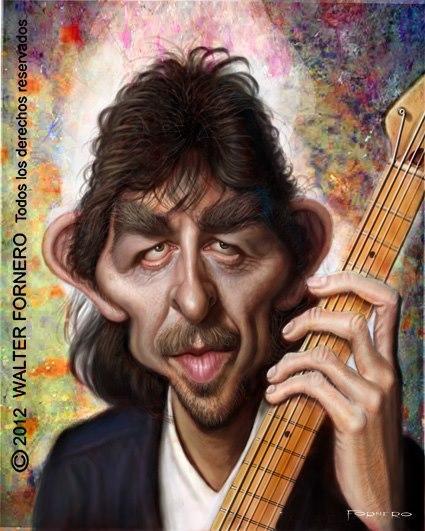 Caricatura de George Harrison 2 por Walter Fornero