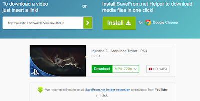 SaveFrom website to download YouTube videos