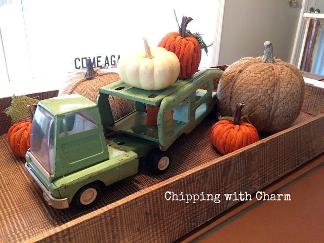 Chipping with Charm: Toy Truck Centerpiece and Pumpkins www.chippingwithcharm.blogspot.com