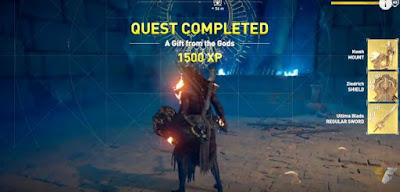 AC Origins, A Gift From The God, Quest Complete Screen,  Chocobo Mount, Ultima Blade, Shield