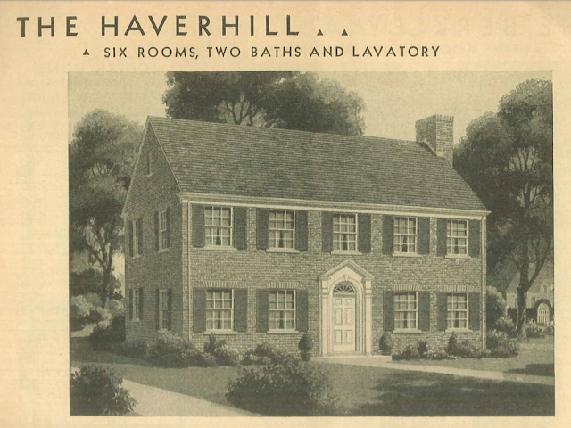 1938 catalog image of the Sears Haverhill, a 2-story brick colonial