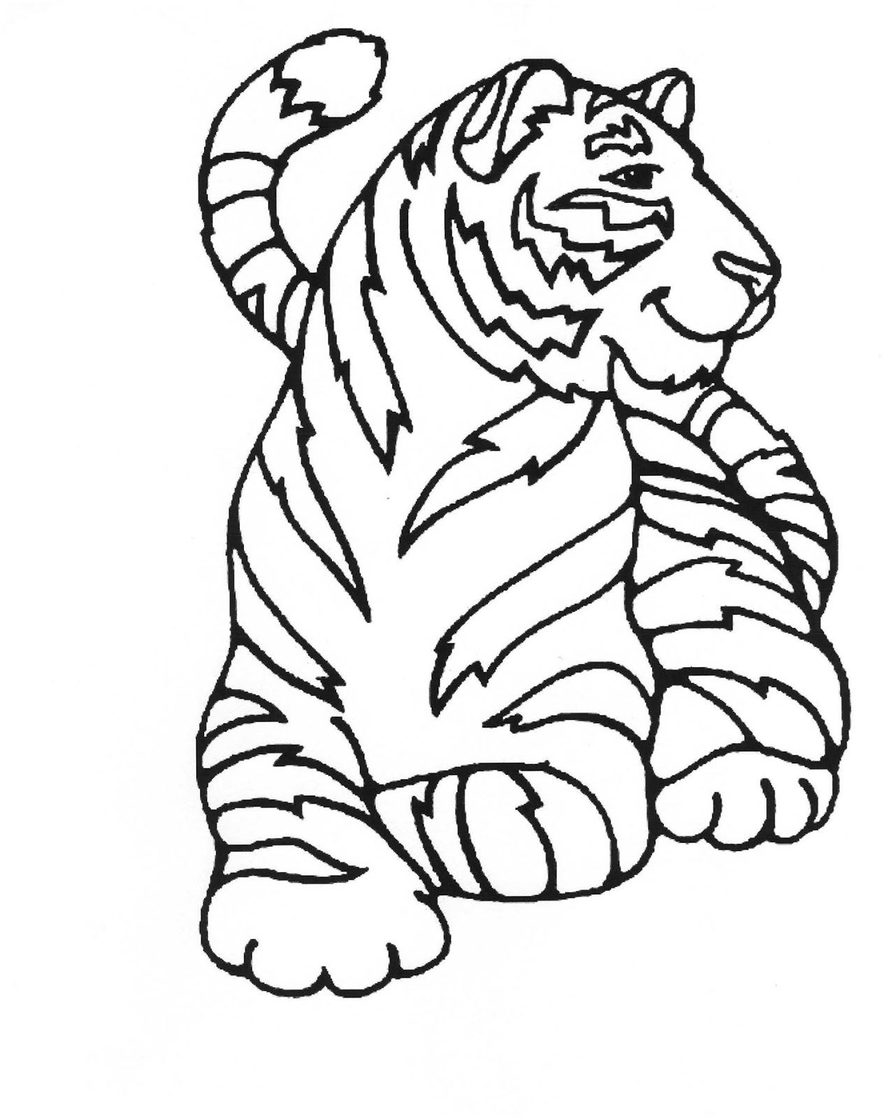 Tranh tô màu con hổ đang nằm nghỉ