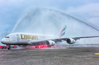 The first Emirates A380 flight into Taipei was greeted with a water cannon salute.