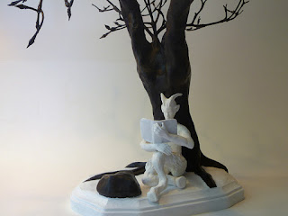 black and white high contrast fantasy sculpture