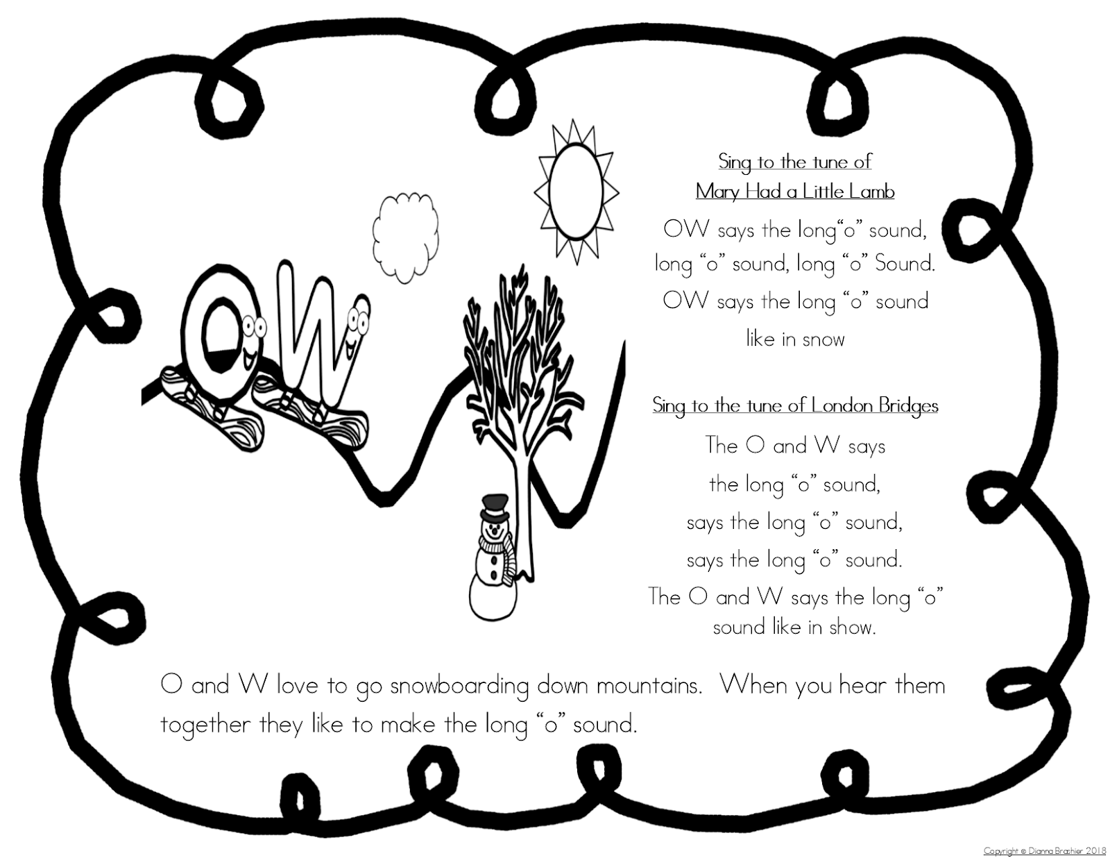 Teachers R Us Oa Ow Story Printable Story Wall Signs And Worksheets