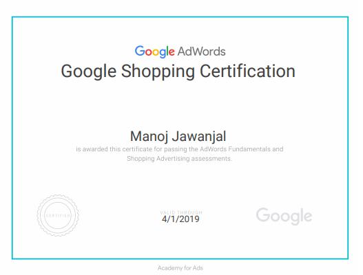 Manoj Jawanjal Digital Marketing Certified Professional