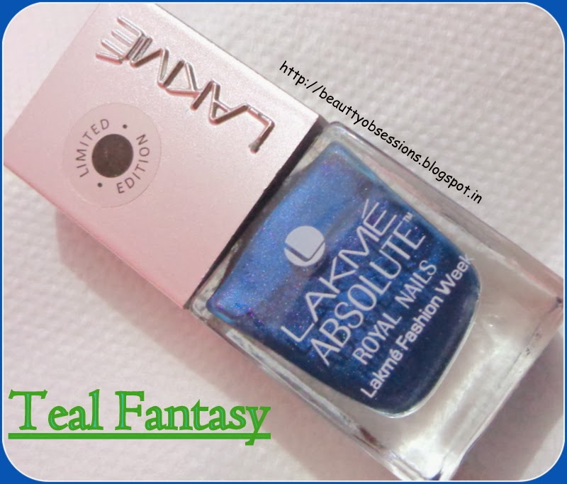 "Sort Review & NOTDs ~ Lakme Absolute Royal Nails "" Teal Fantasy"""