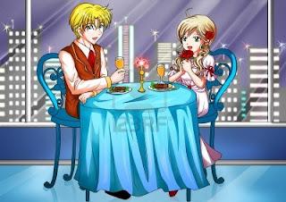 Gambar kartun makan malam romantis