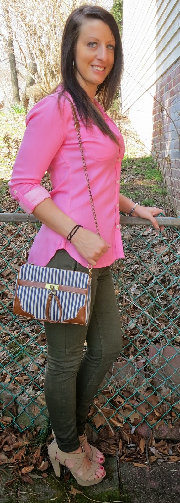 striped bag, nila anthony, target, olive pants, zara, pink blouse, fashion, outfit