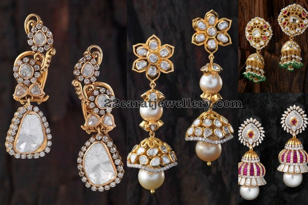 cc6e36f64 Diamond Jhumkas by Creations Jewellery - Jewellery Designs