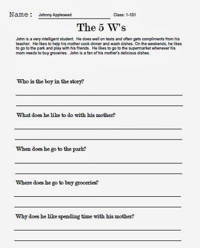 TeachersAssist.com Blog: The 5 Ws Worksheet