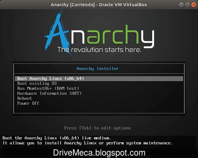 Iniciamos el boot para 64bits de Anarchy Linux