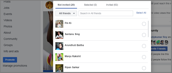 Facebook Page Invite List