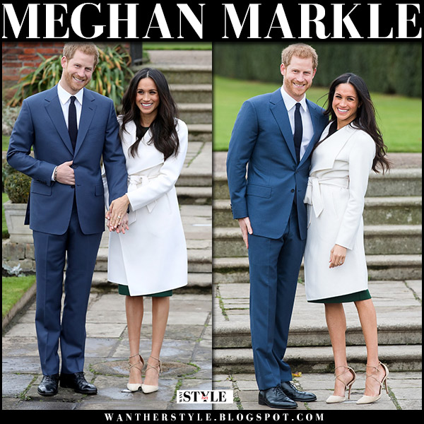 Meghan Markle in white wrap line the label coat, green p.a.r.o.s.h. dress and suede aquazzura matilde pumps engagement announcement photocall Kensington Palace 2017 royal family fashion november 27
