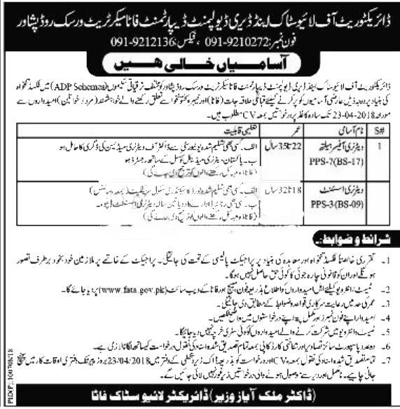 Livestock and Dairy Development Department Peshawar Jobs 2018