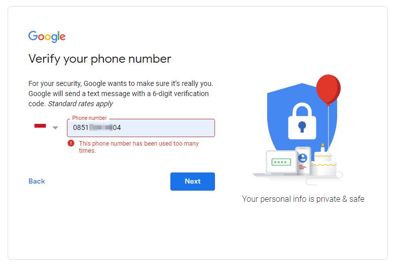 nomor telepon ini sudah terlalu sering digunakan untuk verifikasi