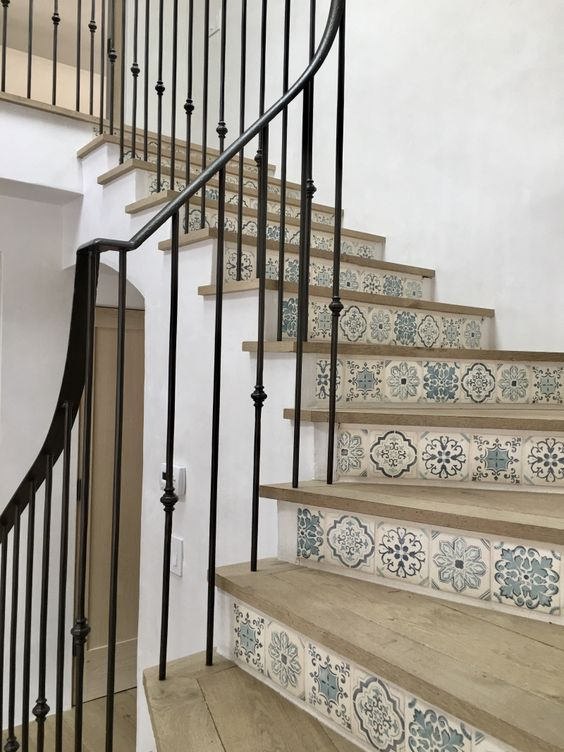 French Country Blue And White Tiled Stair Risers On Beautifully Designed  Oak Staircase With Black Iron ...