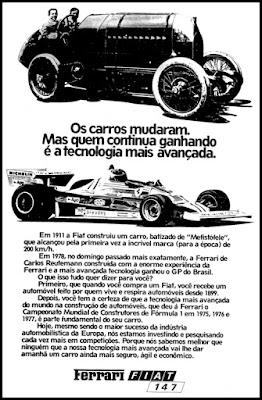 propaganda Ferrari Mefistófele - Fiat 147- 1978; Ferrari; Mefistófele; Fiat 147;  reclame de carros anos 70. brazilian advertising cars in the 70. os anos 70. história da década de 70; Brazil in the 70s; propaganda carros anos 70; Oswaldo Hernandez;