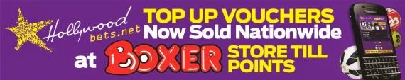 Hollywoodbets Top Up Vouchers available at all Boxer Store till points