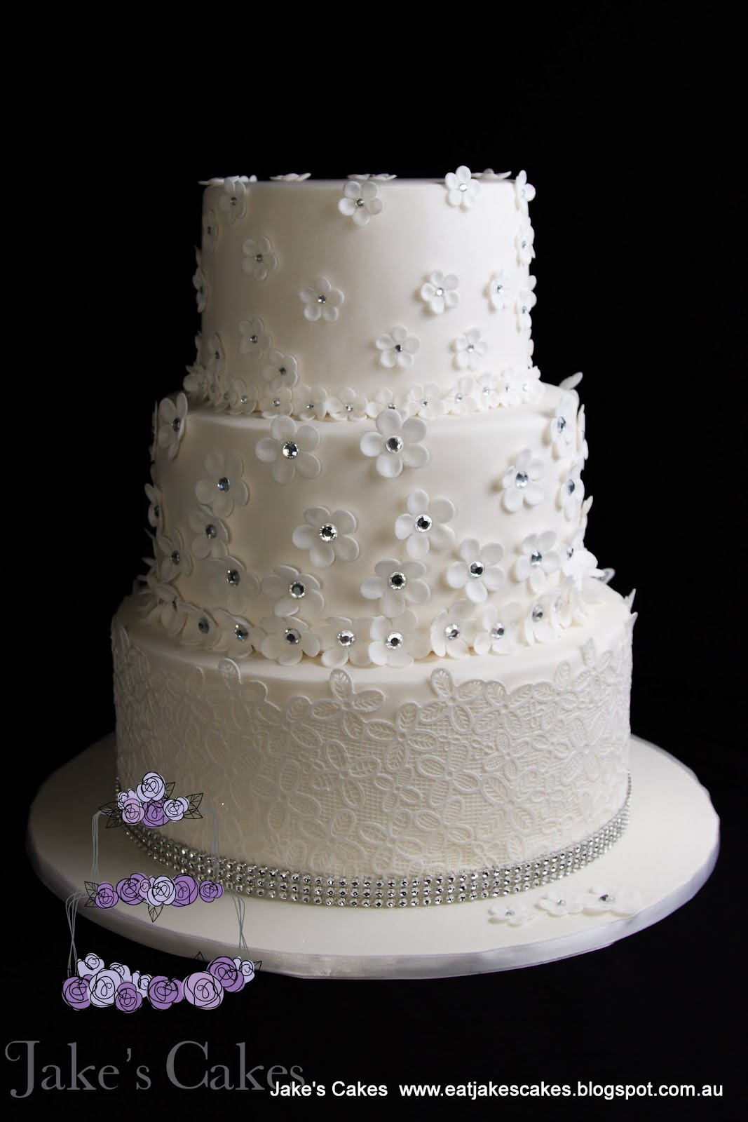 Jake s Cakes  Flower Bling wedding cake Flower Bling wedding cake