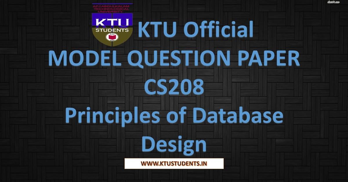 Model Question Paper for Principles of Database Design CS208 | KTU Students