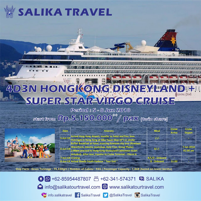 Salika Travel - 4D Hongkong Disneyland Tour + Star Virgo Cruise
