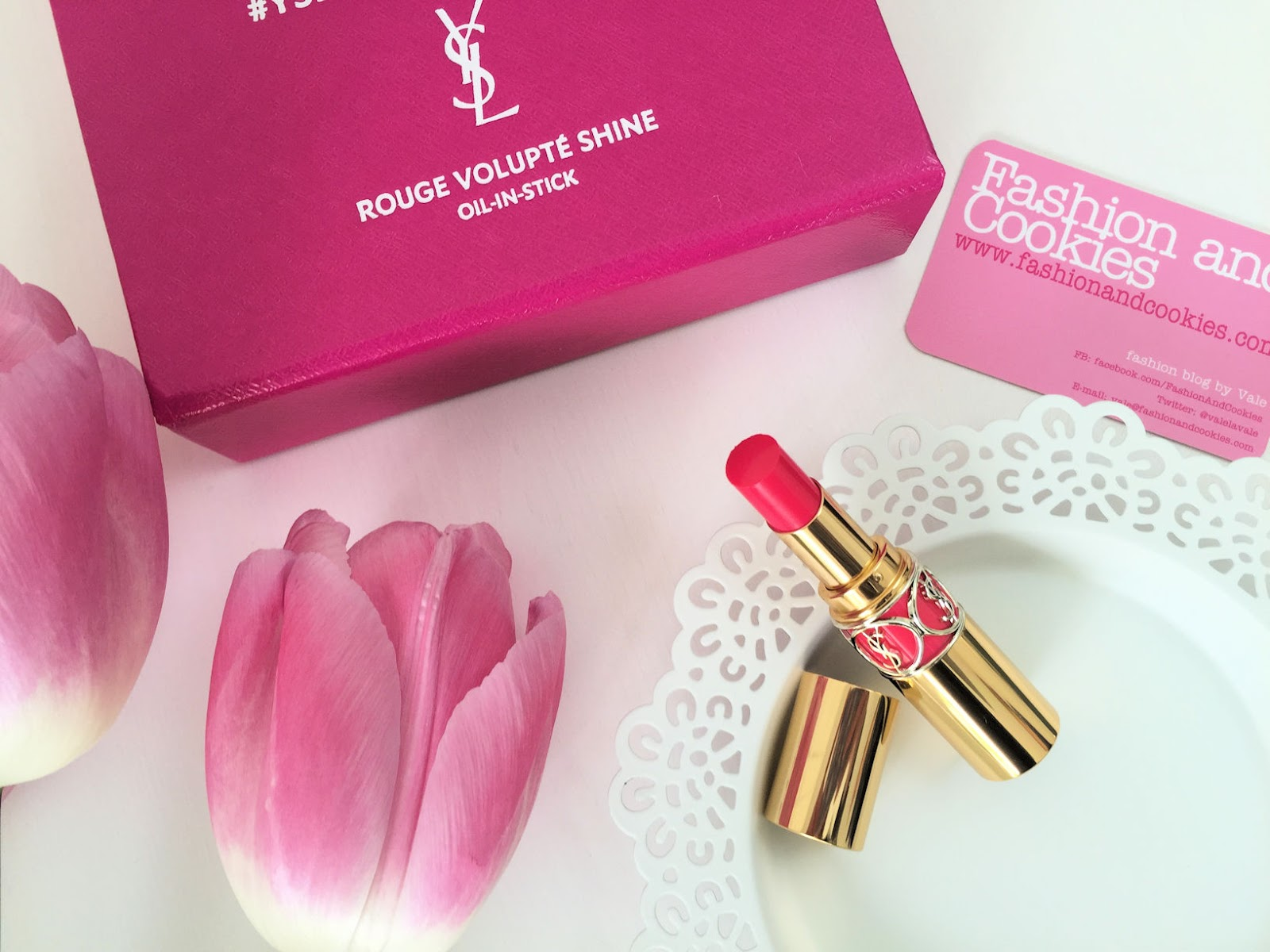 YSL Rouge Volupté Shine lipstick review on Fashion and Cookies beauty blog, beauty blogger