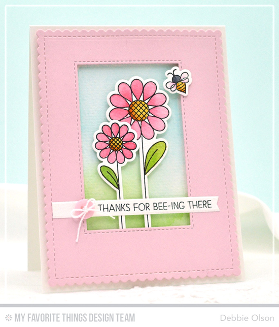 Two Pink Flowers Card by Debbie Olson featuring the Lisa Johnson Designs Fly-By Friends stamp set and Die-namics #mftstamps