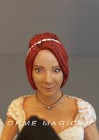 sposini personalizzati realistici per torta nuziale ritratto sposa capelli rossi orme magiche