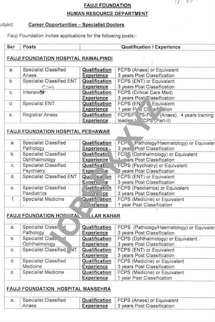 Fauji Foundation Jobs 2019 Rawalpindi/Latest Hospital Jobs