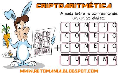 Alfaméticas, Criptoaritméticas, Criptosumas, Problemas criptoaritméticos, Problemas alfaméticos, Retos matemáticos, Desafíos matemáticos, Problemas matemáticos