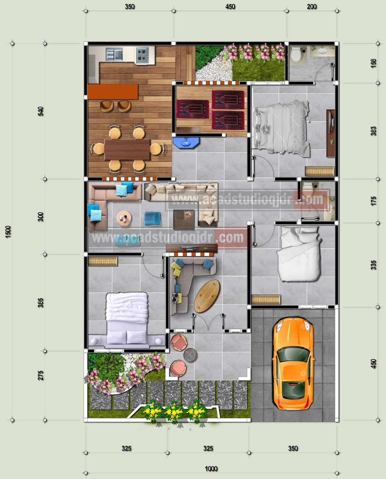 10. Desain Rumah Lahan Sempit Tanpa Halaman