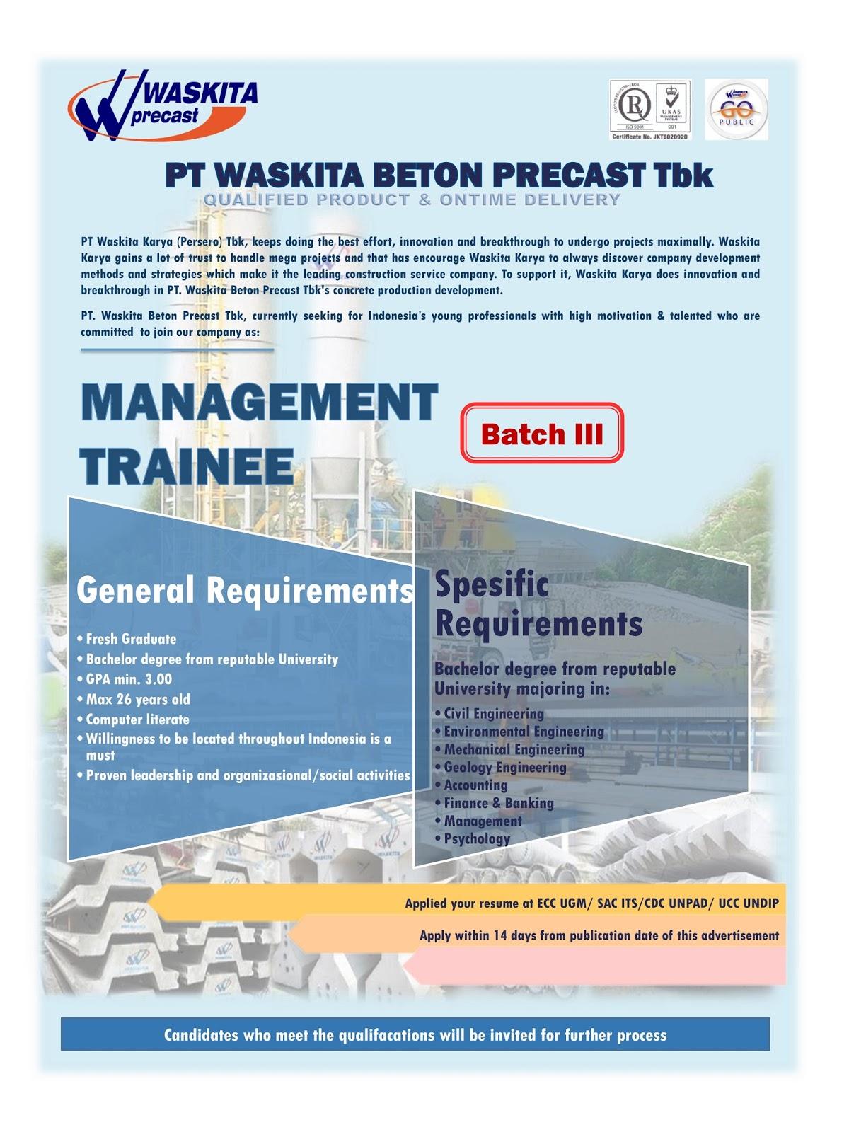 Lowongan Fresh Graduate PT Waskita Beton Precast Batch III