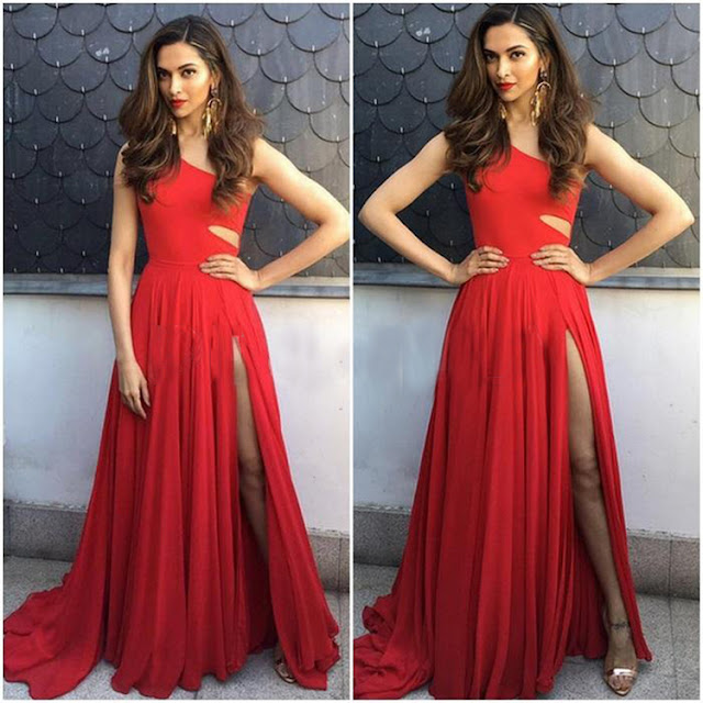 Deepika Padukone in Thigh High Slit Dress