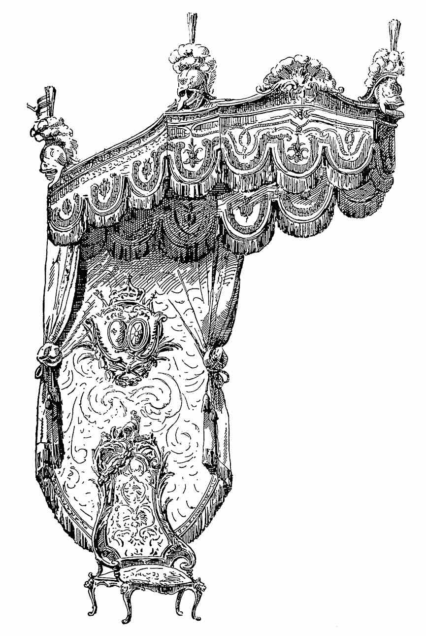 a huge elaborate French rococo chair illustration